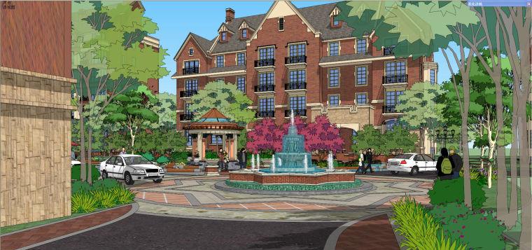 格林小镇英式居住区建筑模型设计