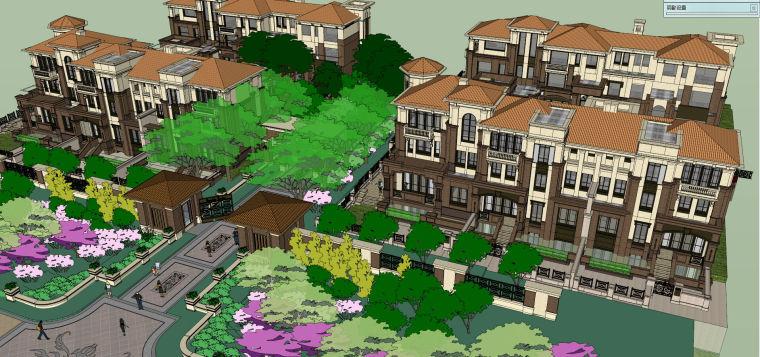 欧陆风格居住区花园建筑模型设计