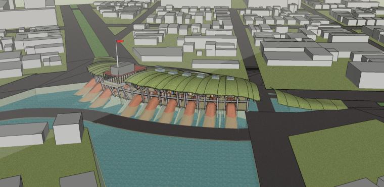 滨水景观su模型