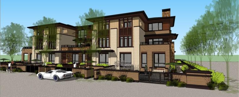 新中式风格联排别墅建筑模型设计