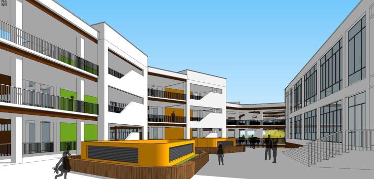 现代风格澄云小学建筑模型设计