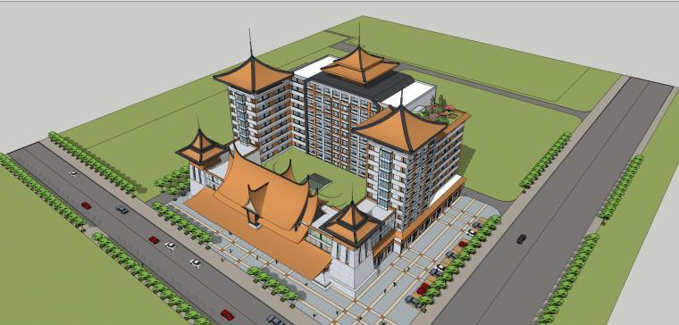 东南亚风格普洱酒店建筑模型设计