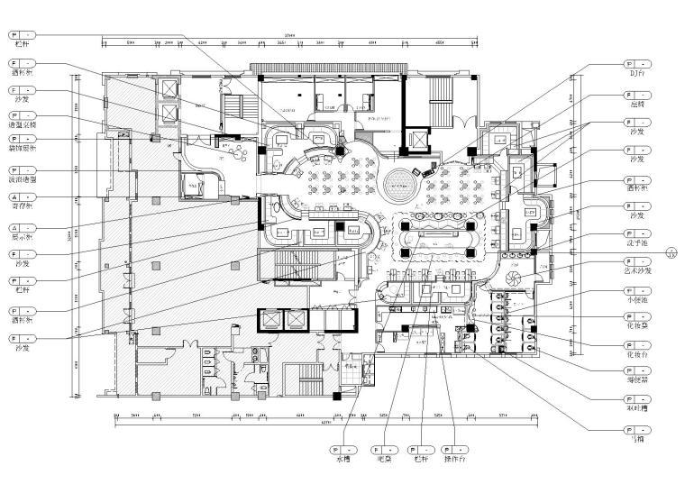 [广西]天琴酒吧全套装饰项目施工图+效果图