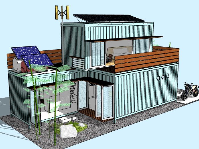 2层集装箱住宅建筑模型设计