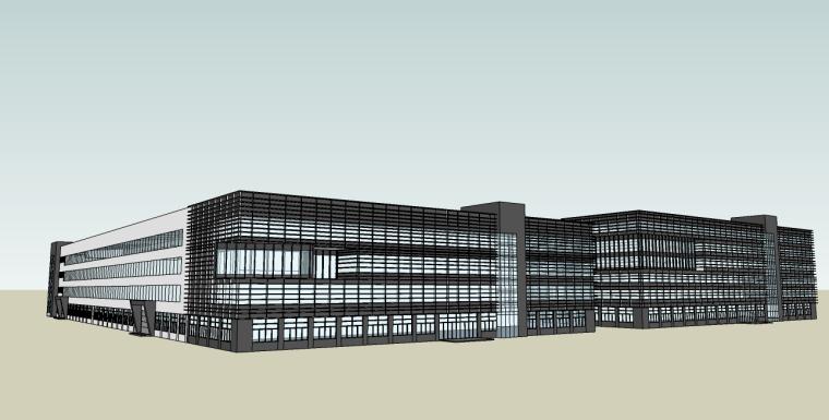 厂房仓房楼su模型