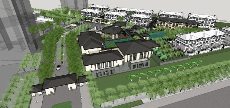 中式风格示范区+联排别墅模型设计