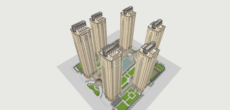 新古典风格高层住宅建筑模型