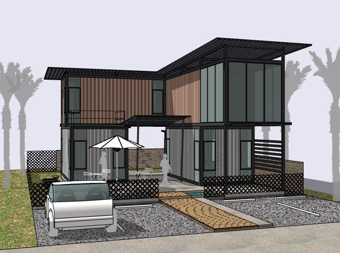现代风格二层集装箱住宅建筑模型设计
