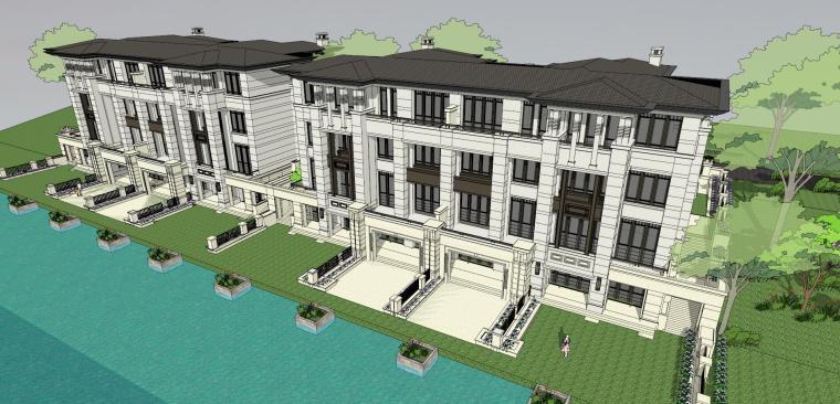 新古典风格联排沿河别墅建筑模型
