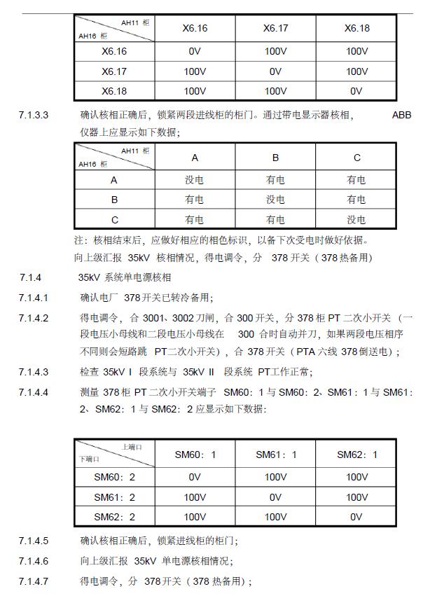 江苏石化工业厂房变电所受送电施工方案-35KV电源系统核相