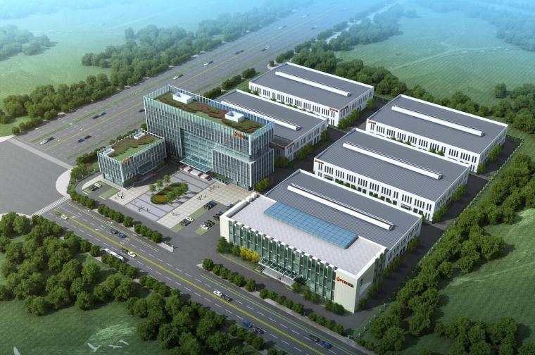 现代风格厂房+办公楼建筑模型设计