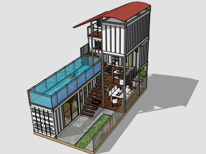二层集装箱私宅建筑模型设计(带泳池)