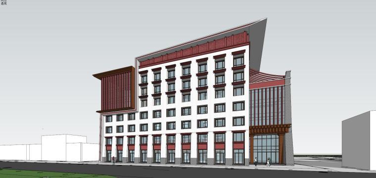 稻城藏式酒店住宅建筑模型设计