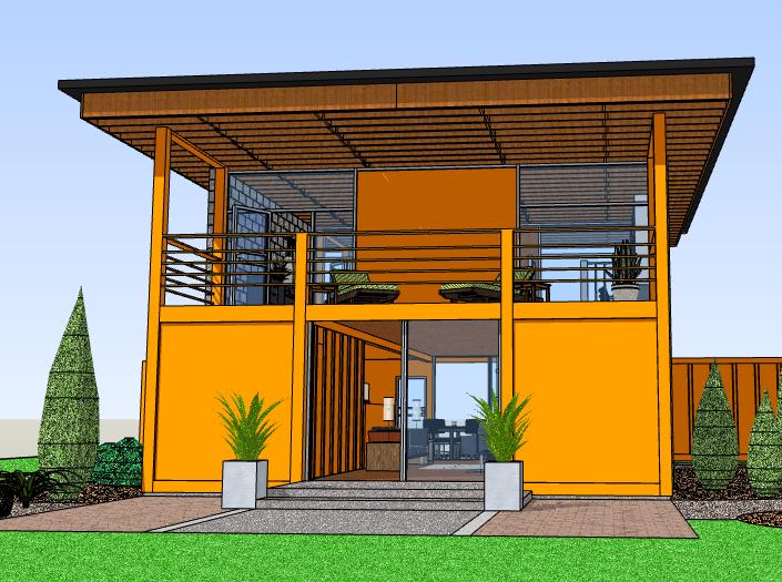 二层集装箱花园住宅建筑模型设计
