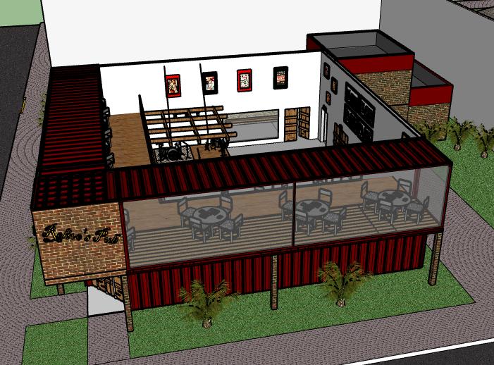 二层集装箱酒吧建筑模型设计