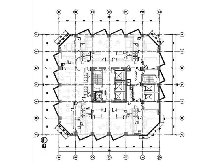 高层办公大楼改造项目幕墙深化图2015-塔楼6~15层平面图