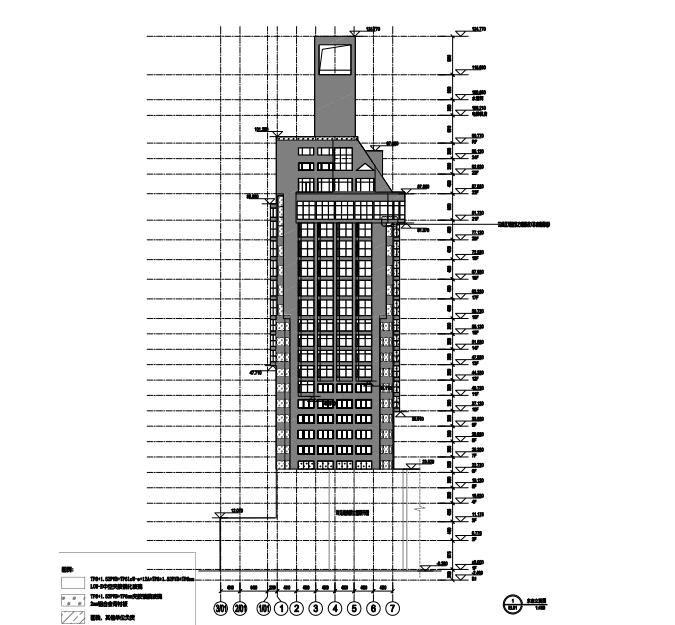 高层办公大楼改造项目幕墙深化图2015-东北立面图