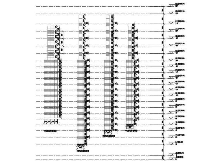高层办公大楼改造项目幕墙深化图2015-塔楼角部立面展开图