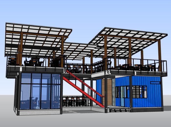 集装箱餐厅建筑模型设计