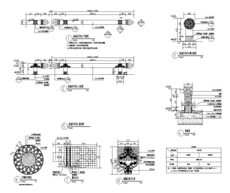 景观细部施工图|高端木栏杆详图