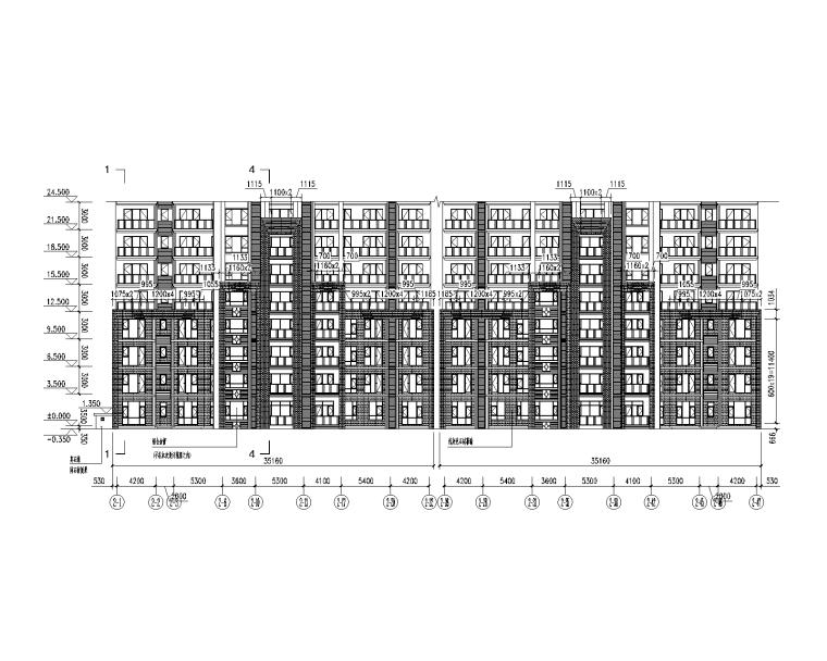石材幕墙深化设计施工图2014-2-1轴~2-47轴立面展开分格图