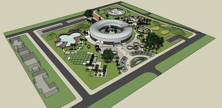圆形元素校园建筑景观su模型