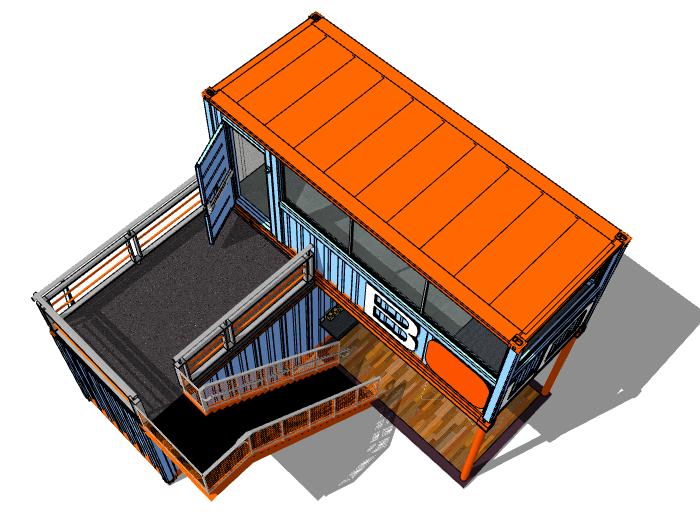 后工业改造集装箱建筑模型设计