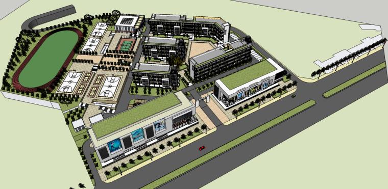 现代校园景观su模型