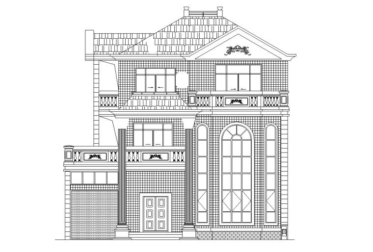 欧式风格多层独栋别墅建筑施工图设计