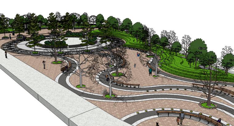 曲线公园广场su模型
