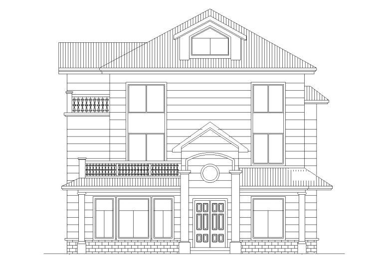 中式风格独栋别墅建筑施工图设计