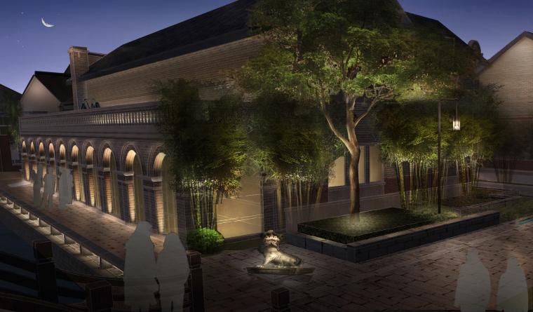 上海精品古宅酒店建筑景观照明方案+效果图