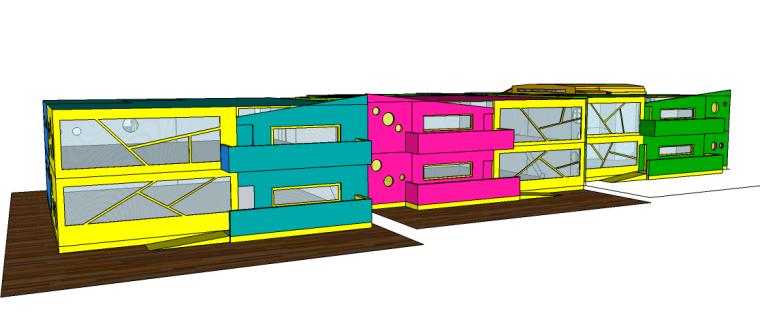 彩色盒子校园景观su模型(幼儿园)