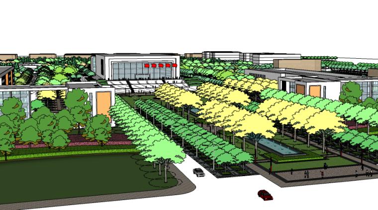 学校校园全区景观su模型