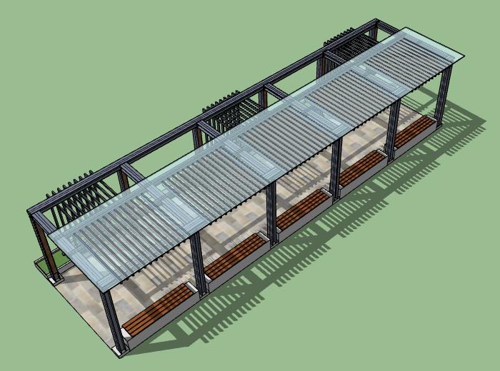 新中式廊架SU模型设计
