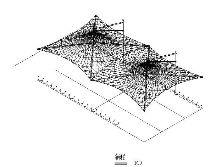 膜结构自行车棚结构施工图(图纸齐全)
