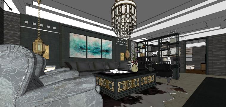 新中式住宅室内模型设计