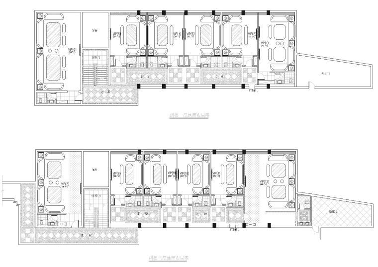副楼一层二层平面图
