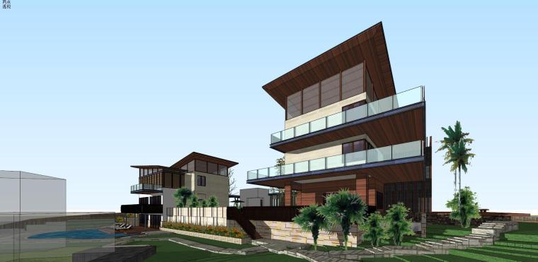新中式风格大别墅建筑模型设计