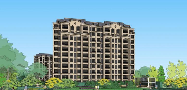 法式风格小高层住宅建筑模型设计