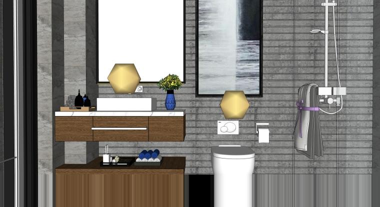 室内卫生间SU模型_现代风、中式卫生间模型