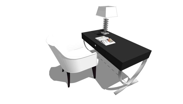 现代书桌椅台灯