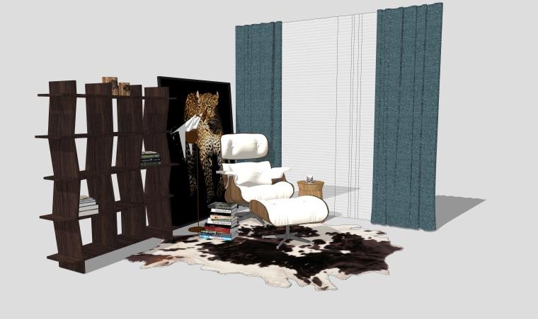 休闲椅SU模型_室外休闲椅、轻奢客厅组合