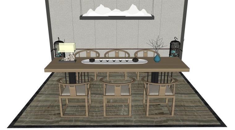 新中式风格茶桌椅组合A