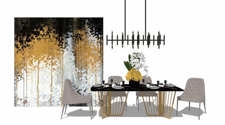 室内SU模型_桌椅组合(50套)3