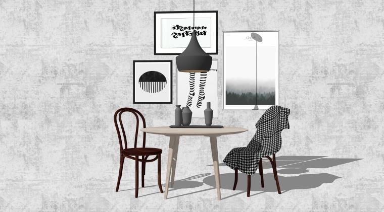 室内SU模型_桌椅组合(50套)4