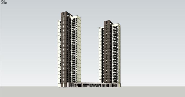 [湖南]万科城高层小区住宅建筑模型设计