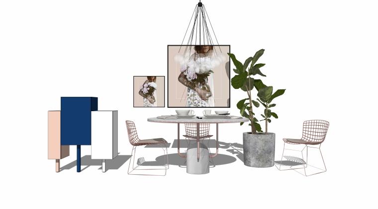 室内SU模型_桌椅组合(50套)1