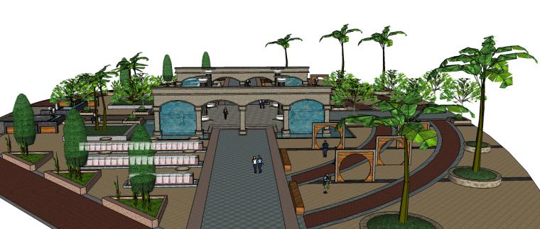 欧式小花园广场景观su模型