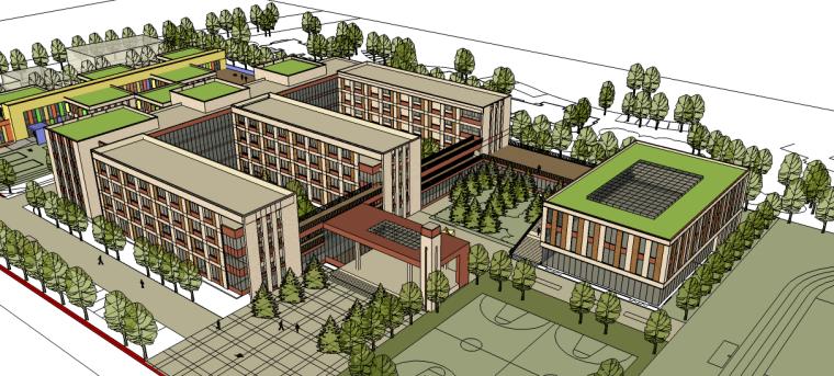 学校校园景观su模型